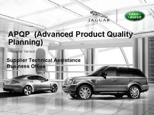 APQP Advanced Product Quality Planning Supplier Version Supplier