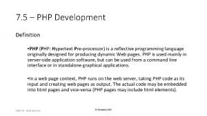 7 5 PHP Development Definition PHP PHP Hypertext