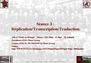 Sance 3 RplicationTranscriptionTraduction Aide lEtude en Biologie Sance