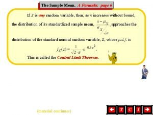 Mean A Formula page 6 The Sample Mean