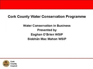 Cork County Water Conservation Programme Water Conservation in