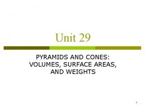 Unit 29 PYRAMIDS AND CONES VOLUMES SURFACE AREAS
