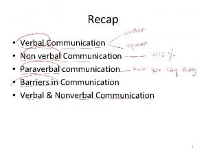 Recap Verbal Communication Non verbal Communication Paraverbal communication
