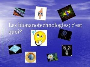 Les bionanotechnologies cest quoi 1 Questce que les