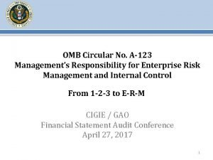 OMB Circular No A123 Managements Responsibility for Enterprise