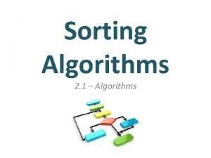 Sorting Algorithms 2 1 Algorithms Unit 2 Computational