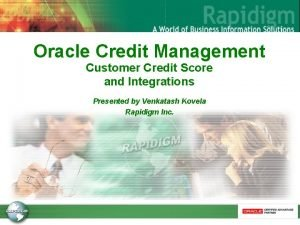 Oracle Credit Management Customer Credit Score and Integrations