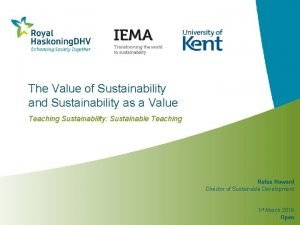 The Value of Sustainability and Sustainability as a