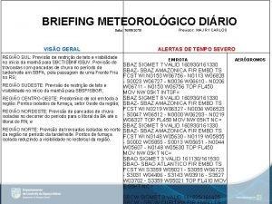BRIEFING METEOROLGICO DIRIO Data 16092019 VISO GERAL REGIO