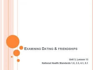 EXAMINING DATING FRIENDSHIPS Unit 3 Lesson 15 National