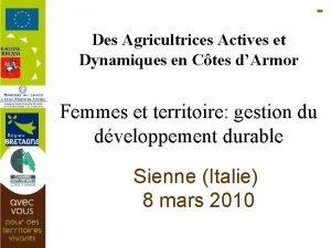 Des Agricultrices Actives et Dynamiques en Ctes dArmor