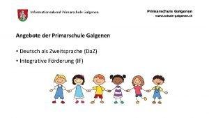 Informationsabend Primarschule Galgenen Angebote der Primarschule Galgenen Deutsch