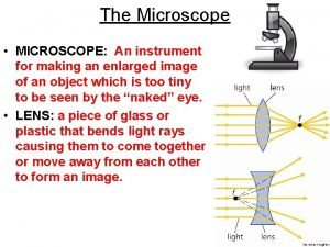 The Microscope MICROSCOPE An instrument for making an