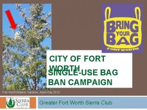 CITY OF FORT WORTH SINGLEUSE BAG BAN CAMPAIGN