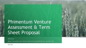 Phimentum Venture Assessment Term Sheet Proposal ENTR 6219