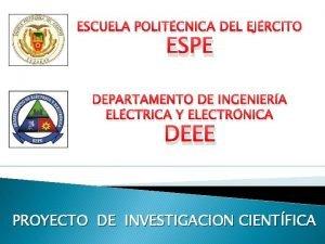 ESCUELA POLITCNICA DEL EJRCITO ESPE DEPARTAMENTO DE INGENIERA