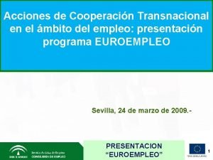 Acciones de Cooperacin Transnacional en el mbito del