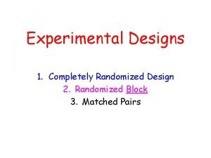 Experimental Designs 1 Completely Randomized Design 2 Randomized