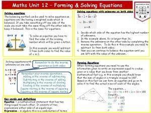 Maths Unit 12 Forming Solving Equations Solving equations