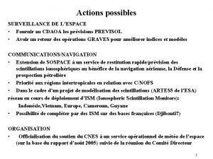 Actions possibles SURVEILLANCE DE LESPACE Fournir au CDAOA