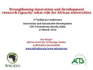 Strengthening innovation and development research capacity what role