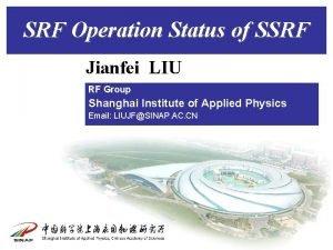 SRF Operation Status of SSRF Jianfei LIU RF