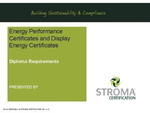 Energy Performance Certificates and Display Energy Certificates Diploma