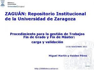 ZAGUN Repositorio Institucional de la Universidad de Zaragoza