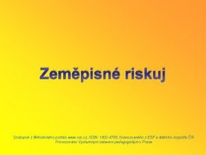 Zempisn riskuj Dostupn z Metodickho portlu www rvp