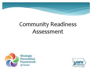 Community Readiness Assessment Assessing Community Readiness is the