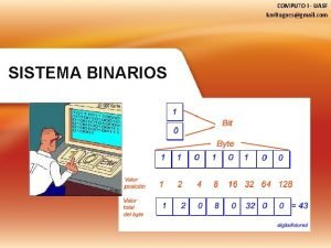 COMPUTO I UASF karitogaesgmail com SISTEMA BINARIOS La