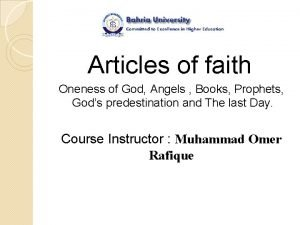 Articles of faith Oneness of God Angels Books