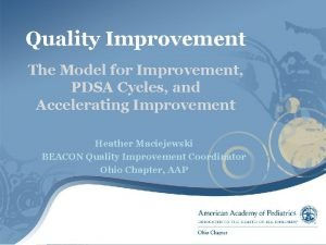 Quality Improvement The Model for Improvement PDSA Cycles