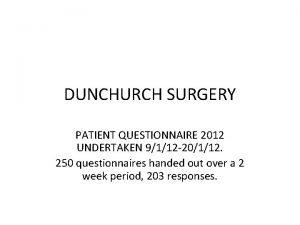 DUNCHURCH SURGERY PATIENT QUESTIONNAIRE 2012 UNDERTAKEN 9112 20112