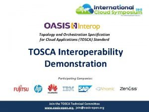 Topology and Orchestration Specification for Cloud Applications TOSCA