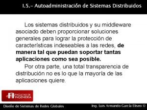 I 5 Autoadministracin de Sistemas Distribuidos Los sistemas