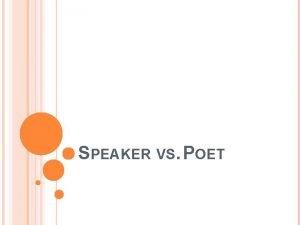 SPEAKER VS POET THE SPEAKER One of the
