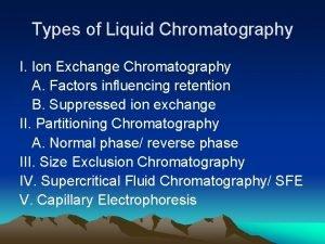 Types of Liquid Chromatography I Ion Exchange Chromatography