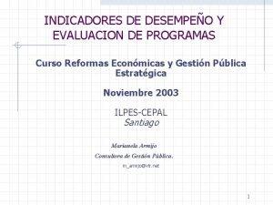 INDICADORES DE DESEMPEO Y EVALUACION DE PROGRAMAS Curso