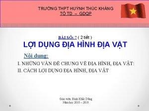 TRNG THPT HUNH THC KHNG T TD GDQP