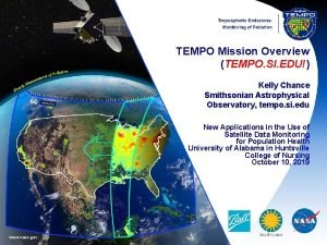 TEMPO Mission Overview TEMPO SI EDU Kelly Chance