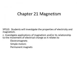 Chapter 21 Magnetism SPS 10 Students will investigate