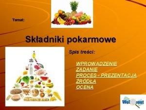 Temat Skadniki pokarmowe Spis treci WPROWADZENIE ZADANIE PROCES