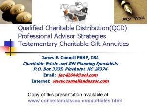Qualified Charitable DistributionQCD Professional Advisor Strategies Testamentary Charitable