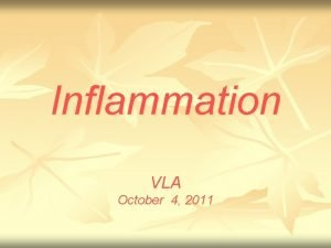 Inflammation VLA October 4 2011 Inflammation n Inflammation