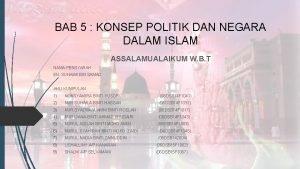 BAB 5 KONSEP POLITIK DAN NEGARA DALAM ISLAM