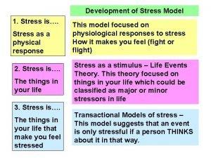 Development of Stress Model 1 Stress is Stress