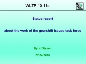 WLTP10 11 e Status report about the work