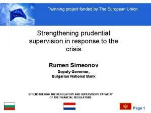 Twinning project funded by The European Union Strengthening