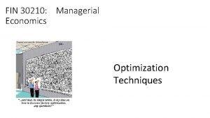 FIN 30210 Managerial Economics Optimization Techniques Economics is